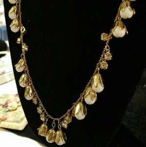 Gold tone necklace white beads and crystals Adorn